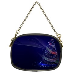 Christmas Tree Blue Stars Starry Night Lights Festive Elegant Chain Purses (one Side)  by yoursparklingshop