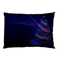 Christmas Tree Blue Stars Starry Night Lights Festive Elegant Pillow Case by yoursparklingshop