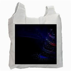 Christmas Tree Blue Stars Starry Night Lights Festive Elegant Recycle Bag (one Side) by yoursparklingshop