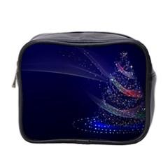 Christmas Tree Blue Stars Starry Night Lights Festive Elegant Mini Toiletries Bag 2 Side by yoursparklingshop