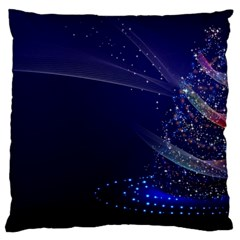 Christmas Tree Blue Stars Starry Night Lights Festive Elegant Large Cushion Case (two Sides) by yoursparklingshop