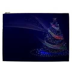 Christmas Tree Blue Stars Starry Night Lights Festive Elegant Cosmetic Bag (xxl)  by yoursparklingshop