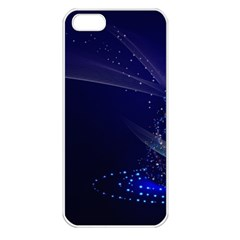 Christmas Tree Blue Stars Starry Night Lights Festive Elegant Apple Iphone 5 Seamless Case (white) by yoursparklingshop