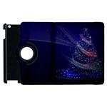 Christmas Tree Blue Stars Starry Night Lights Festive Elegant Apple iPad 3/4 Flip 360 Case