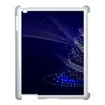 Christmas Tree Blue Stars Starry Night Lights Festive Elegant Apple iPad 3/4 Case (White)