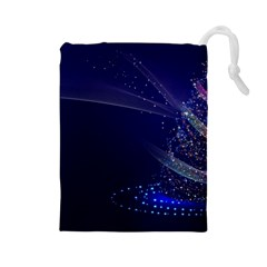 Christmas Tree Blue Stars Starry Night Lights Festive Elegant Drawstring Pouches (large)  by yoursparklingshop