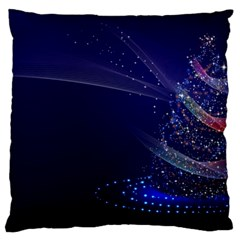 Christmas Tree Blue Stars Starry Night Lights Festive Elegant Large Flano Cushion Case (one Side) by yoursparklingshop
