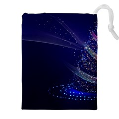 Christmas Tree Blue Stars Starry Night Lights Festive Elegant Drawstring Pouches (xxl) by yoursparklingshop