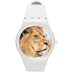 Big Male Lion Looking Right Round Plastic Sport Watch (m) by Ucco