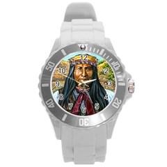Apache Tribe Warrior Chiricahua Apache Tribe Round Plastic Sport Watch (l) by AllThingsEveryone