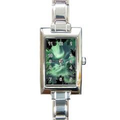 Northern Lights In The Forest Rectangle Italian Charm Watch by Ucco