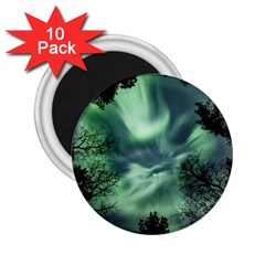 Northern Lights In The Forest 2 25  Magnets (10 Pack)  by Ucco
