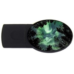 Northern Lights In The Forest Usb Flash Drive Oval (2 Gb) by Ucco