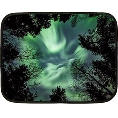 Northern Lights In The Forest Double Sided Fleece Blanket (mini)  by Ucco