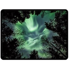 Northern Lights In The Forest Fleece Blanket (large)  by Ucco