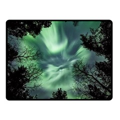 Northern Lights In The Forest Fleece Blanket (small) by Ucco