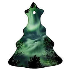 Northern Lights In The Forest Christmas Tree Ornament (two Sides) by Ucco