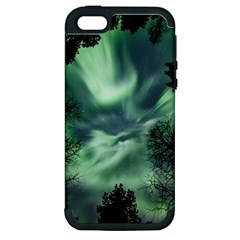 Northern Lights In The Forest Apple Iphone 5 Hardshell Case (pc+silicone) by Ucco