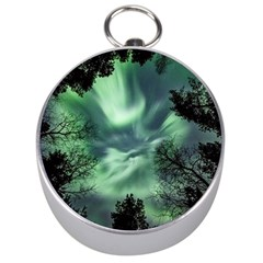 Northern Lights In The Forest Silver Compasses by Ucco