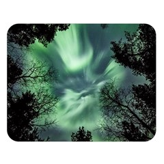 Northern Lights In The Forest Double Sided Flano Blanket (large)  by Ucco