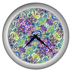 Colorful Modern Floral Print Wall Clocks (silver)  by dflcprints