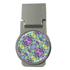 Colorful Modern Floral Print Money Clips (round)  by dflcprints