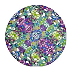 Colorful Modern Floral Print Ornament (round Filigree) by dflcprints