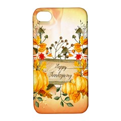 Happy Thanksgiving With Pumpkin Apple Iphone 4/4s Hardshell Case With Stand by FantasyWorld7