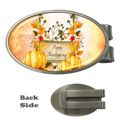 Happy Thanksgiving With Pumpkin Money Clips (oval)  by FantasyWorld7