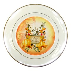 Happy Thanksgiving With Pumpkin Porcelain Plates by FantasyWorld7
