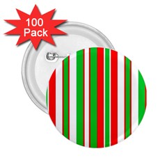 Christmas Holiday Stripes Red 2 25  Buttons (100 Pack)  by Celenk