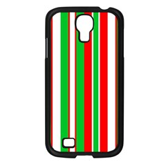 Christmas Holiday Stripes Red Samsung Galaxy S4 I9500/ I9505 Case (black) by Celenk