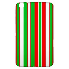 Christmas Holiday Stripes Red Samsung Galaxy Tab 3 (8 ) T3100 Hardshell Case  by Celenk