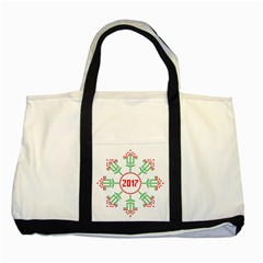 Snowflake Graphics Date Year Two Tone Tote Bag by Celenk