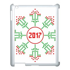 Snowflake Graphics Date Year Apple Ipad 3/4 Case (white) by Celenk