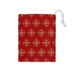 Pattern Background Holiday Drawstring Pouches (medium)  by Celenk
