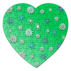 Snowflakes Winter Christmas Overlay Jigsaw Puzzle (heart) by Celenk