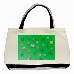 Snowflakes Winter Christmas Overlay Basic Tote Bag (two Sides) by Celenk