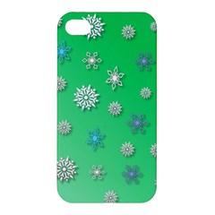 Snowflakes Winter Christmas Overlay Apple Iphone 4/4s Premium Hardshell Case by Celenk