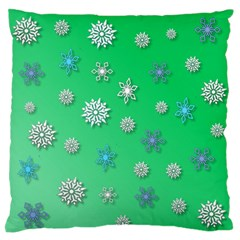 Snowflakes Winter Christmas Overlay Large Flano Cushion Case (one Side) by Celenk