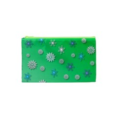 Snowflakes Winter Christmas Overlay Cosmetic Bag (xs) by Celenk