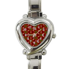 Textured Background Christmas Pattern Heart Italian Charm Watch by Celenk