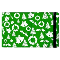 Green White Backdrop Background Card Christmas Apple Ipad 3/4 Flip Case by Celenk