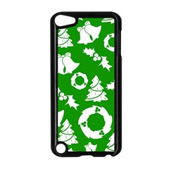 Green White Backdrop Background Card Christmas Apple Ipod Touch 5 Case (black) by Celenk