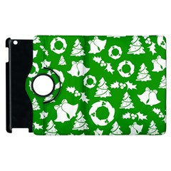 Green White Backdrop Background Card Christmas Apple Ipad 2 Flip 360 Case by Celenk