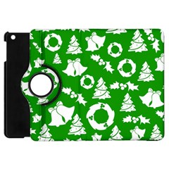 Green White Backdrop Background Card Christmas Apple Ipad Mini Flip 360 Case by Celenk