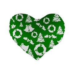 Green White Backdrop Background Card Christmas Standard 16  Premium Flano Heart Shape Cushions by Celenk