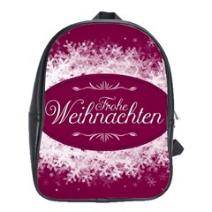 Christmas Card Red Snowflakes School Bag (large) by Celenk