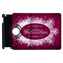 Christmas Card Red Snowflakes Apple Ipad 3/4 Flip 360 Case by Celenk