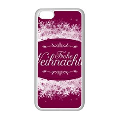 Christmas Card Red Snowflakes Apple Iphone 5c Seamless Case (white) by Celenk